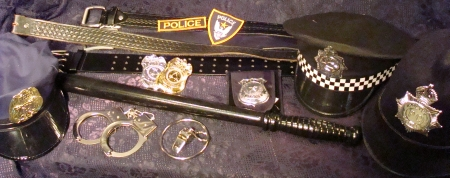 Cop Accessories, Cop Accessories Dallas, Cop Costume Accessories, Cop Costume Accessories Dallas, Police Officer Accessories, Police Officer Accessories Dallas, Police Officer Costume Accessories, Police Officer Costume Accessories Dallas, Cop Gear, Billy Club, Badges, Hats, English Coppers, Handcuffs, Whistle, Bobby Hats