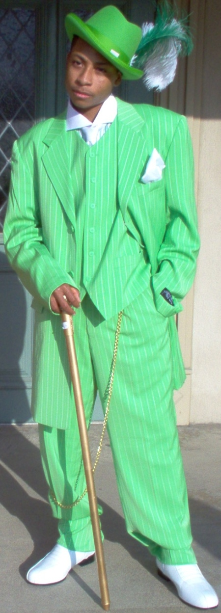 Gentlemen's High Fashion Three Peice green Zoot Suit