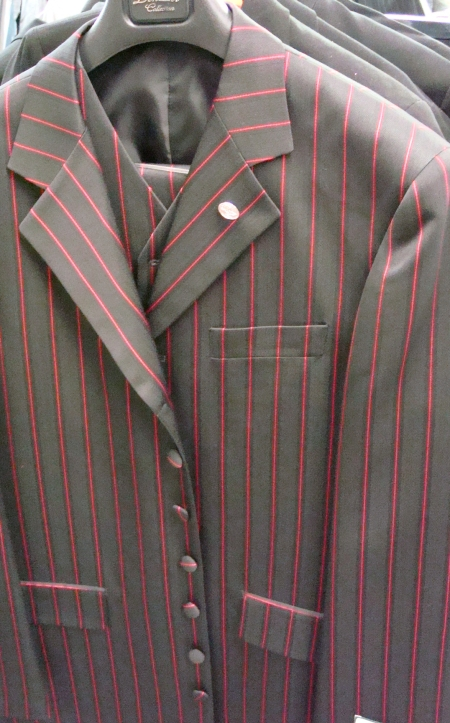Shoman Clothing, Showman Clothing Dallas, Showmen Suit, Showmen Suit Dallas, Showmen Outfit, Showmen Outfit Dallas, Performer Outfit, Performer Outfit Dallas, Performer Suits, Performer Suits Dallas, Entertainer Outfits, Entertainer Outfits Dallas, 1920's Mens Suits, Zoot Suits, 1920's Mens Suits. Three Piece Black and Red Pinstripe Suit. Stacy Adams, Falcone, Celene, Mens Pinstripe 1920s Suits, Mens Gangster Suits, Mens Period Suits, Mens Historical Period Suits, 1920's Three Piece Black and Red Pinstripe Suit