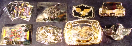 Our Dallas Shop has tons of BUCKLES as shown here. Get BUCKLES, Belt Buckle Selection, Best Buckles Dallas, Big Belt Buckles, American Eagle Buckles, Elvis Buckles, Vegas Belt Buckles, Western Cowboys Buckles, Novelty Belt Buckles, Vintage Belt Buckles, Huge Buckles, Pimp Daddy Buckles, Gambling Belt Buckles, Gaudy Belt Buckles, Texas Belt Buckles, Biker Belt Buckles, Rebel Belt Buckles, Patriotic Belt Buckles, Western Belt Buckles, Rock n' Roll Belt Buckles, Huge Buckles, Western Wear Buckles, Texas Star Belt Buckles and more.