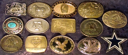 Vintage Buckles, Cowboy Buckles, Dallas Cowboys Buckle, Texas A&M Buckle, etc.