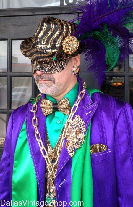 Mardi Gras Men's Hats, Men's Mardi Gras Jewelry, Men's Mardi Gras Accessories in stock at Dallas Vintage Shop.