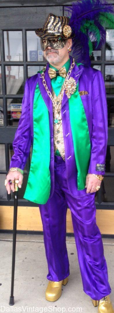 DFW's best Mardi Gras Costume Shop has Men's Mardi Gras Costumes, Suits, Hats, Mardi Gras Beads, Mardi Gras Accessories and more at Dallas Vintage Shop.