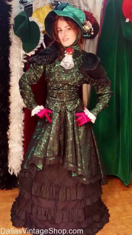 Dickens Ladies Attire, Dickens Period Costumes, Dickens Christmas Carol Characters Costumes, Dickens Deluxe Costumes and more are from Dallas Vintage Shop.