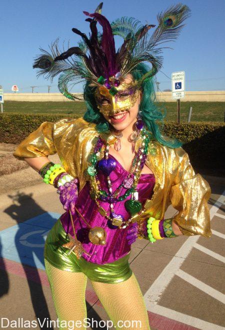 Mardi Gras Costumes, Mardi Gras Masks, Elaboriat Mardi Gras Outfits & Mardi Gras Party Accessories are at Dallas Vintage Shop