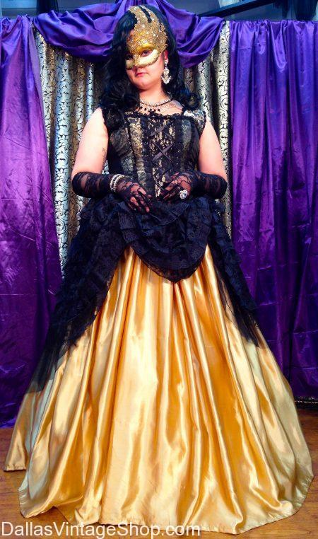 Ladies' Show-Stopping Mardi Gras Ballgowns, Corsets & Unique Masquerade Masks