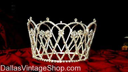 Square-jeweled Women's Crown with Gold/Metal Backing Wire