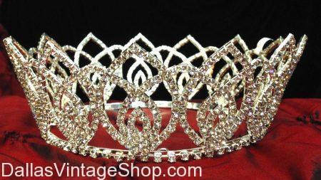 Teardrop Pattern Crown, Jeweled Ladies' Crown