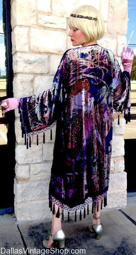In Stock: long beaded 20's evening jackets, elegant burn out velvet wraps & shawls, opulent 1920's beaded gowns & formal vintage attire.