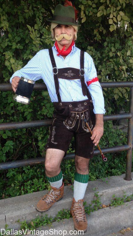 Mens Bavarian Oktoberfest Leather Lederhosen Socks Red Shirt