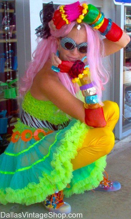 Crazy Neon 1980's Cyndi Lauper Rockstar Costume