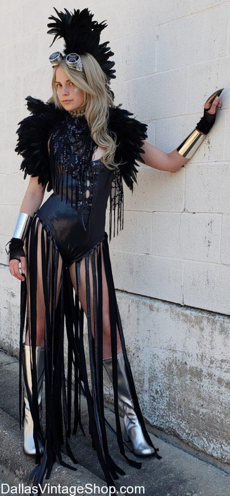 Nobody on earth has more Burning Man Ladies Mad Max Attire, Burning Man Goggles, Burning Man Wild Headdress, Burning Man Sexy Leather & Pleather Outfits, Burning Man fringe Vests and other Burning Man Dystopian Accessories and Ideas than Dallas Vintage Shop.