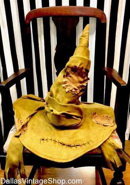 A Licensed Harry Potter Sorting Hat sitting on a wooden Chair waiting to be used