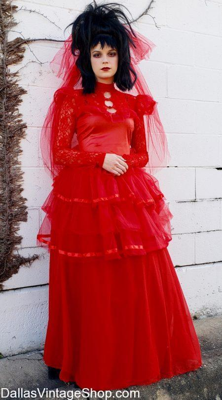 Beetlejuice's Lydia Costume, Lydia from Beetlejuice, Red Dress, Horror Movie, Cut Classic, Red Wedding Dress