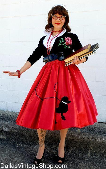 Best Poodle Skirt Selection in DFW, Poodle Skirt Petty Coats, Poodle Skirt Accessories, Poodle Skirts in alll Adult and Child sizes. Poodle Skirts range in prices from Supreme Qualtiy to Median and Economy Price Points.