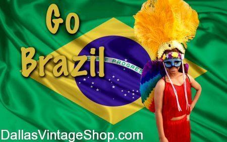 Brazil Costumes, International Costumes, Brazilian Carnival, Brazilian Exotic Costumes & Brazilian Sports Fan Costumes are available at Dallas Vintage Shop.