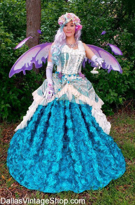 The Fairy Princess Costume, shown here, illustrates the Quality & Detail of our many different types of Princess Costuumes you can create here at Dallas Vintage Shop.