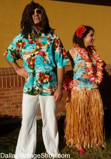 Jimmy Buffett Hawaiian Attire for Men and Ladies at Dallas Vintage Shop.