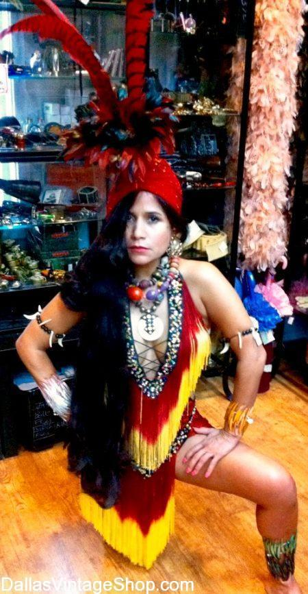 Get Brazil Carnival Costumes, Brazilian Exotic Dancers Attire & Colorful Brazilian International Festival Costumes at Dallas Vintage Shop.