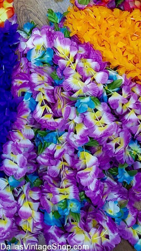We have Luau Leis for Luaus and Hawaiian Costumes at Dallas Vintage Shop.