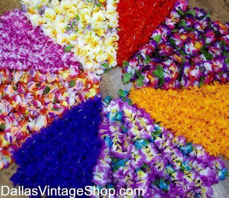 Hawaiian Floral Leis, Hula Dancer Leis, Tropical Luau Leis are at Dallas Vintage Shop.