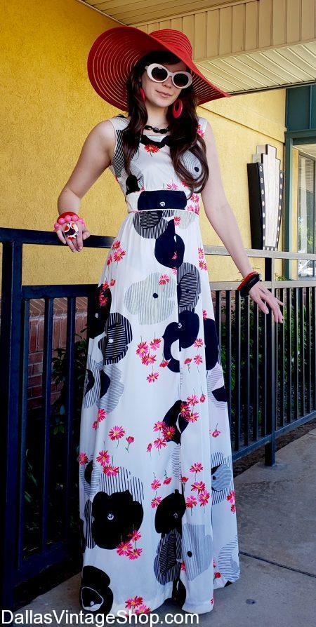 Tropical Vintage Dresses, Tropical Ladies Attire & Chic Tropical Fashions, Hats & Jewelry are plentiful at Dallas Vintage Shop