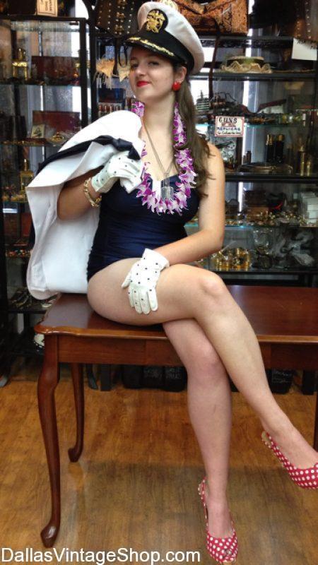 Luau Vintage Swim Suits and Hawaiian Luau Costumes at Dallas Vintage Shop.