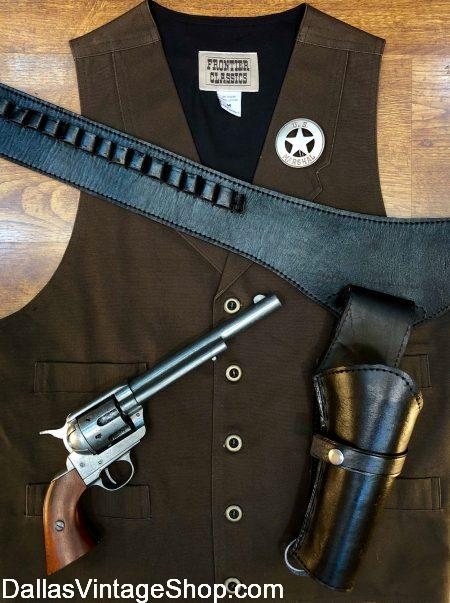 Westworld Cowboy Costumes, Westworld Male Host Characters Outfits, Westworld Cowboy Vests, Hats, Gun Belts and Accessories from Dallas Vintage Shop.