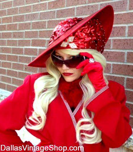 Red Hat Society Hats, Luxurious Red Hat, Red Facinator Hats, Red Whimsy Hats & Red Hat Purple Blouses & Dresses from Dallas Vintage Shop.