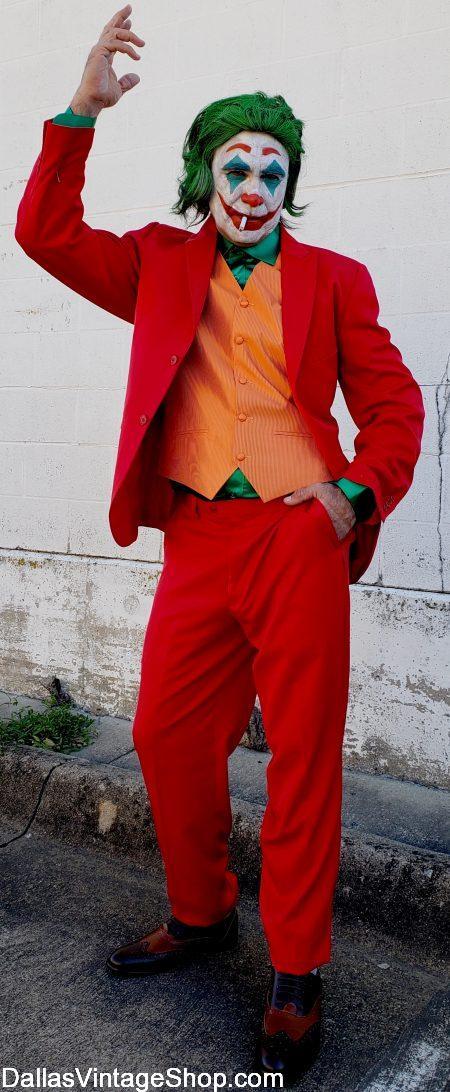 Joker Joaquin Phoenix Red Suit, Orance Vest, Joker Wig, Green Shirt at Dallas Vintage Shop.