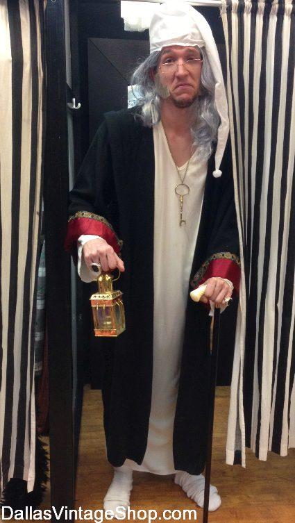 Ebenezer Scrooge Nightshirt Costume, Ebenezer Scrooge Sleeping Cap, Ebenezer Scrooge Wig, Ebenezer Scrooge Sleeping Gown Costume from Dallas Vintage Shop.