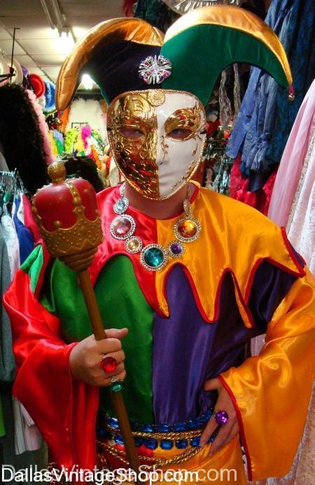 masquerade jester costume, colorful masquerade costume, masquerade costume accessories