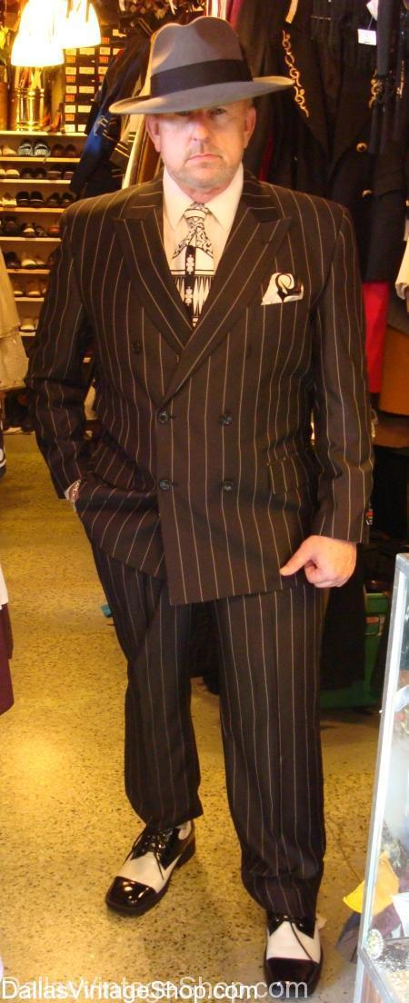 vintage pinstripe suit costume, men's vintage clothing, men's vintage fedoras, men's vintage hats, men's vintage shoes, mens vintage shops in dallas, mens vintage stores, Pinstripe Suits, vintage 20's suits, vintage 30's suits, vintage 40's suits, vintage clothing, vintage pinstripe suits, Vintage Suits