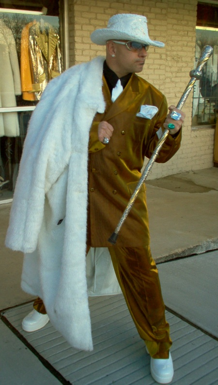 Pimp wearing Fur Coat