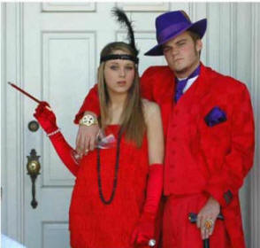 Zoot and Flapper costume, gangster and moll zoot suit costume, red zoot suit for sale in dallas, red zoot hat for sale in dallas,