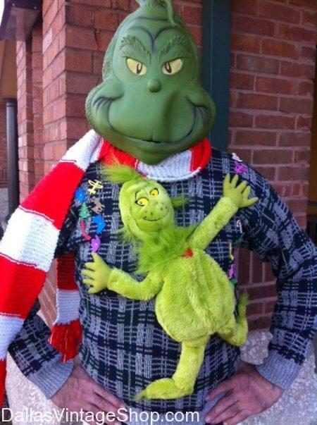Men's Tacky Grinch Christmas Sweater Party Contest Winner