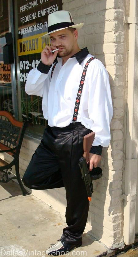 Gangster wearing suspenders