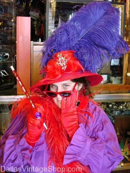 Feathers and Boas for Red Hat Society, feathers boas costumes for red hat society in or near dallas,
