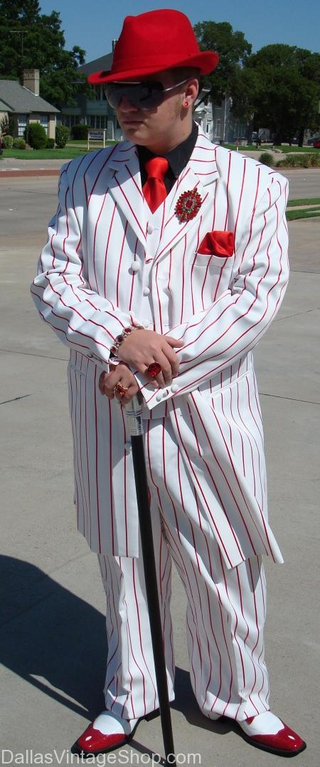 pinstripe Candycane Zoot suit white with red stripes costume