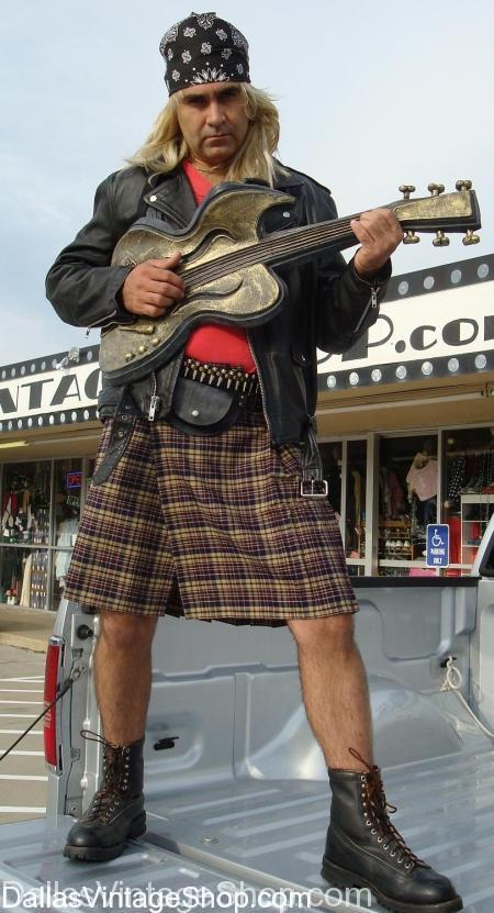 Classic Rock Guns N Roses Costume, Classic Rock Axel Rose Costume, Classic Rock Axel Rose Kilt Costume, Classic Rock Axel Rose Bandana Costume