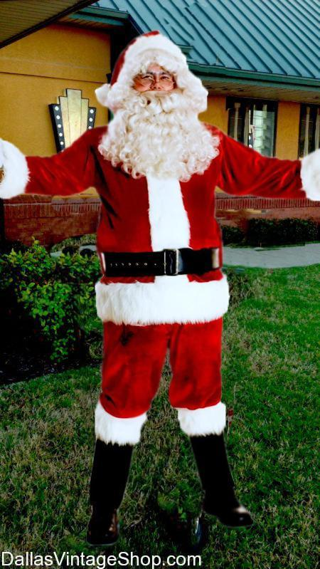 WE HAVE Santa Suits Galore: from Regular Quality to Super High Quality, All Quality Santa Wigs, Santa Beard, Santa Bags, ETC...