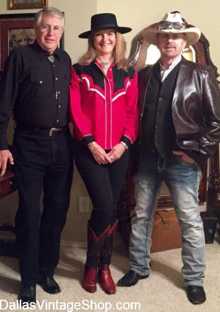 LONESOME DOVE REUNION GALA Attendees(Bob McCaughtry, Annette Hoffman McCaughtry-COSTUMER & Jerry Purvis). Western Wear Outfits for Ladies & Men, Western Wear Costumes for Theme Parties and Western Wear Hats, Shirts, Vests & Jackets are at Dallas Vintage Shop.