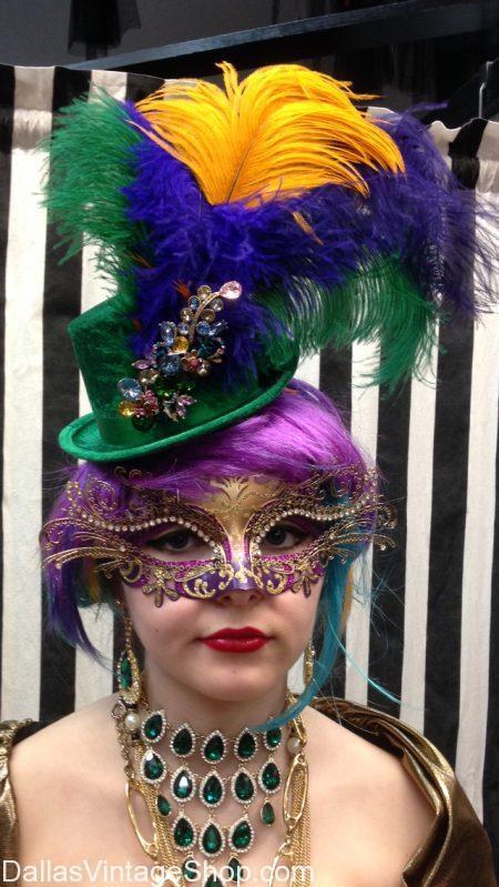 Mardi Gras New Orleans Costumes, Dallas Mardi Gras Celebration Attire, Mardi Gras Fashionable Hats, Mardi Gras Masquerade Masks & Mardi Gras Elaborate Costumes from Dallas Vintage Shop.