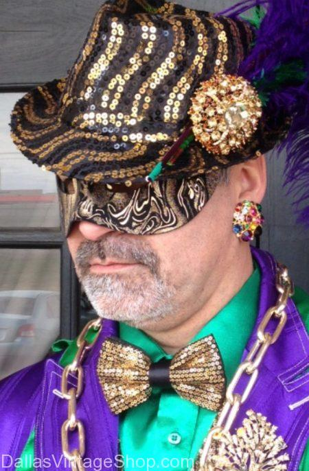 Mardi Gras Event Costume Ideas, Exceptional Mardi Gras Men's Costumes, Mardi Gras Costumes Accessories & Fancy Men's Mardi Gras Suits in stock at Dallas Vintage Shop.