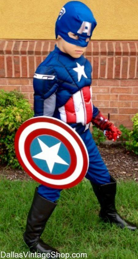 Get Kids Superhero Costumes, Boys Captian America Superhero Costume, Kids Marvel Superheroe Costumes, DC Boys & Girls Superheores and Super Villains at Dallas Vintage Shop.