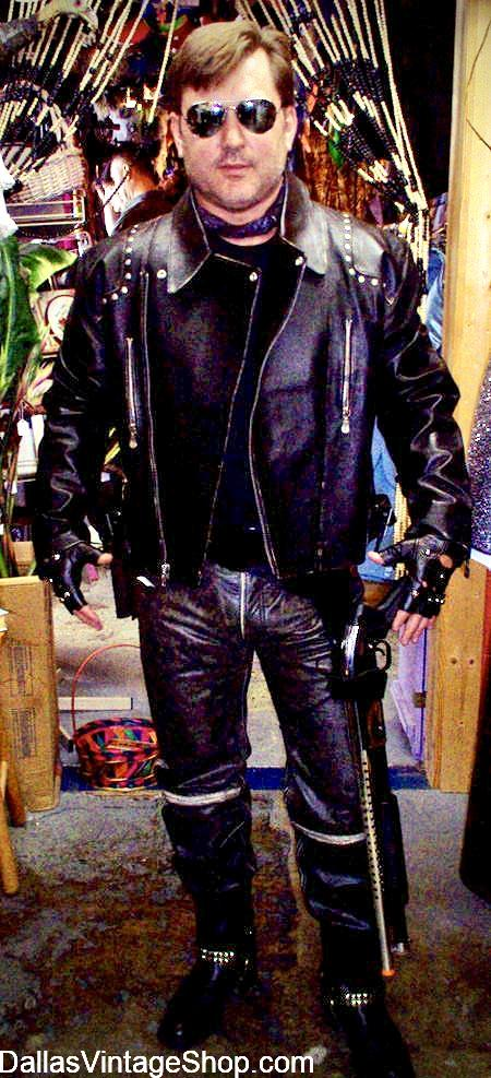 Leather Men's Costumes, Men's Leather Attire, Men's Leather Pants and Leather Coats are at Dallas Vintage Shop.
