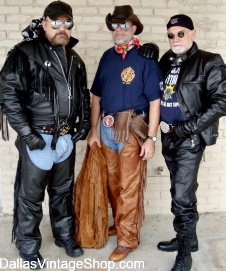 Texas Biker Leather Gear, Texas Leathermen Bikers, Biker Chaps, Biker Leather Pants & Biker Leather Jackets are at Dallas Vintage Shop.