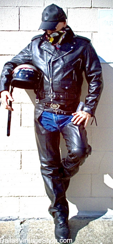 Texas Leathermen Biker Gear, Texas Leather Biker Shop, Leathermen Bikers Clothing & Leather Biker Costumes are in stock at Dallas Vintage Shop.