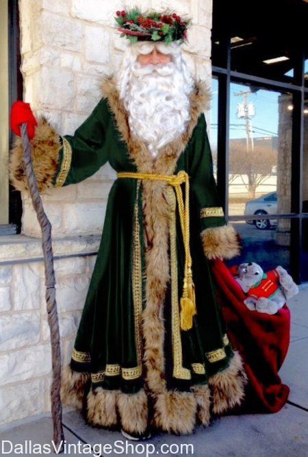 Dickens Father Christmas Costume and Dickens Ghost of Christmas Past, Present & Future Costumes, All Charles Dickens Characters Costumes are at Dallas Vintage Shop.