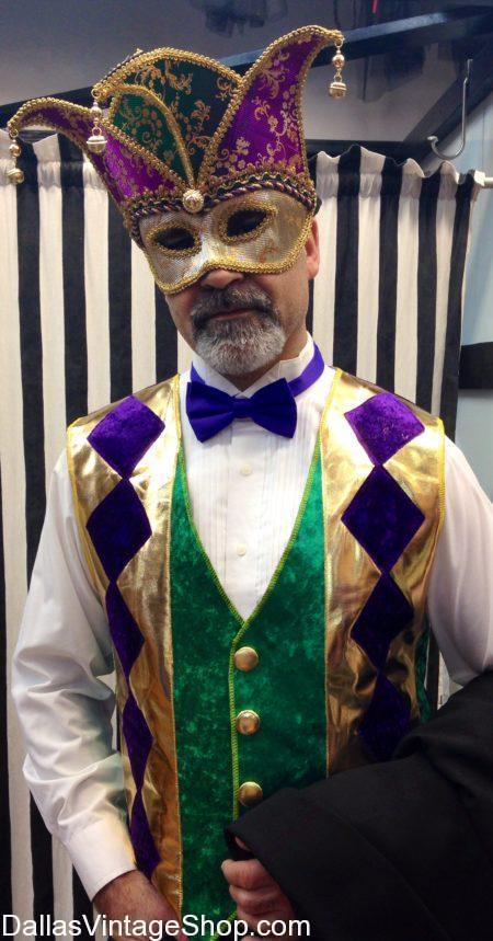 Men's Mardi Gras Jester Outfit and Mask, Men's Mardi Gras Masquerade Costumes & Accessories